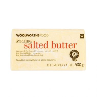 500 G AYRSHIRE BUTTER - <a href='http://www.woolworths.co.za/store/prod/Food/Baskets/Healthy-Living-Campaign/For-The-Family/Ayrshire-Salted-Butter-500g/_/A-6001009025753' target='_blanl'>BUY NOW</a>