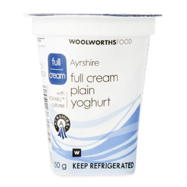 150G AYRSHIRE FULL CREAM YOGURT - <a href='http://www.woolworths.co.za/store/prod/Food/Food/Dairy-Eggs-Milk/Yoghurt/Plain-Yoghurt/Ayrshire-Full-Cream-Yoghurt-150g/_/A-6009189631368' target='_blank'>BUY NOW</a>