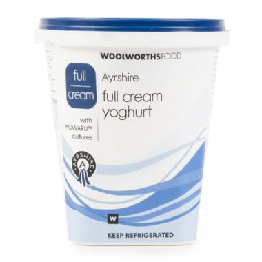 1KG AYRSHIRE FULL CREAM YOGURT - <a href='http://www.woolworths.co.za/store/prod/Food/Food/Dairy-Eggs-Milk/Yoghurt/Plain-Yoghurt/Ayrshire-Full-Cream-Yoghurt-1L/_/A-6009184342825' target='_blank'>BUY NOW</a>
